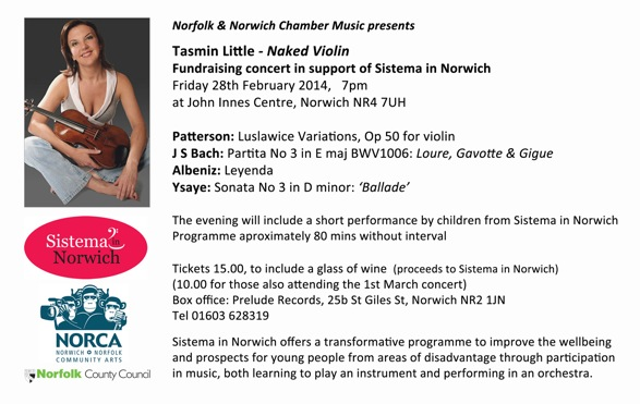 Tasmin Little plays Fundraising concert for Sistema in Norwich